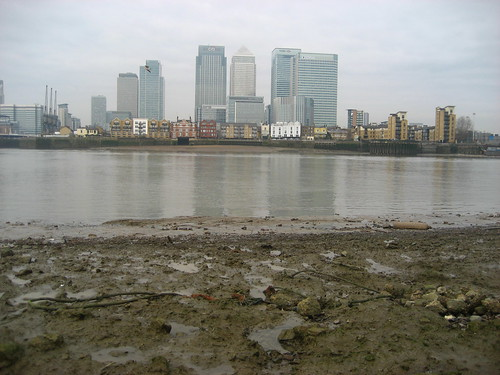 Looking across the mud to the Isle of Dogs