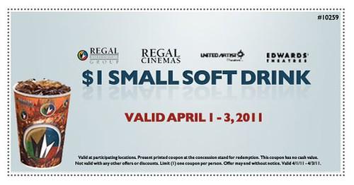 Regal Cinemas $1 Small Soft Drink Coupon