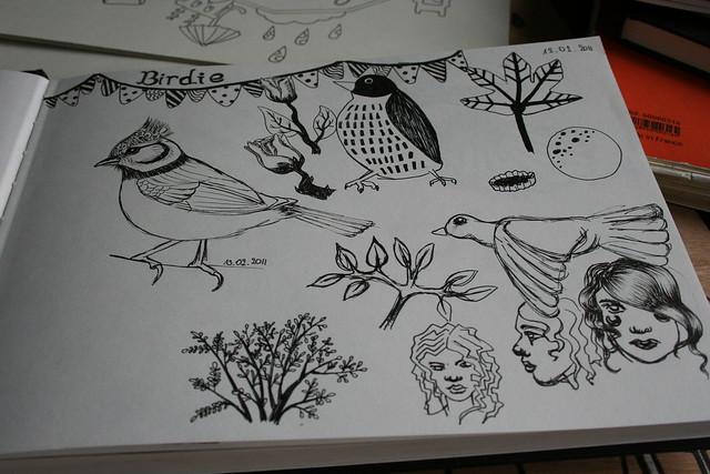 Schets van vogeltjes