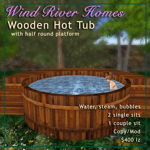 Wooden Hot Tub with half round platform by Teal Freenote