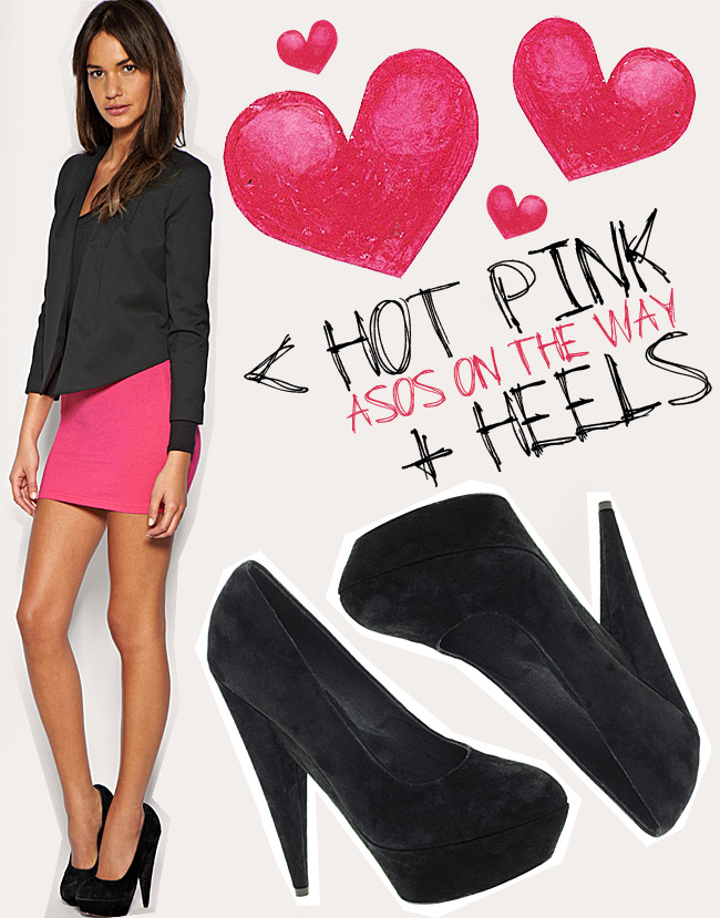 Asos fashion outfit, Suede heels, Hot Pink Mini Skirt