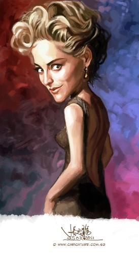 digital caricature of Sharon Stone - 3
