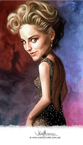 digital caricature of Sharon Stone