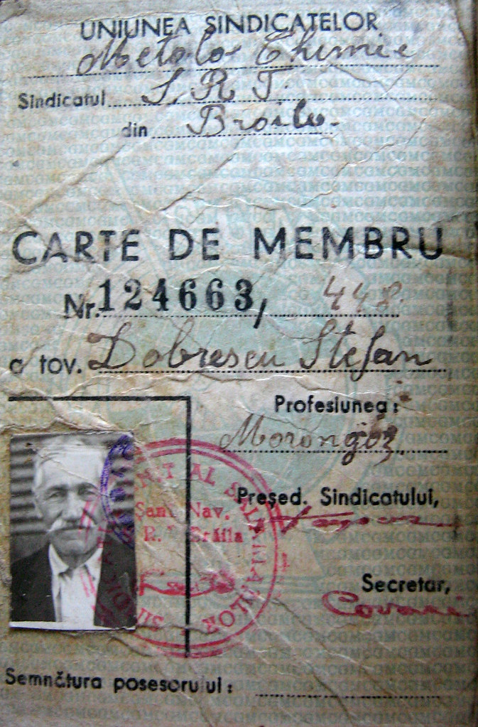 My great-grandfather's union membership card, from the forties.
