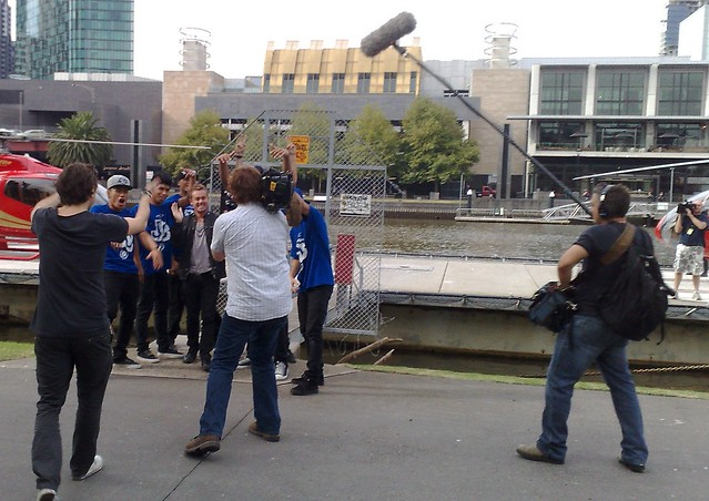 Grant Denyer and Justice Crew filming a promotion for Australia's Got Talent