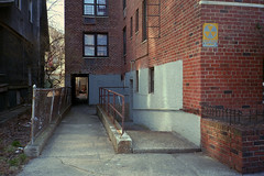 Entrance to Fallout Shelter (Alexander Rabb) Tags: nyc newyorkcity ny newyork film brooklyn fuji olympus falloutshelter nys flatbush olympusxa fujisuperiaxtra400 c41 olympusfzuiko35mmf28