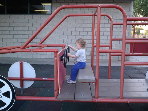 "Playing in the ""fire truck"""