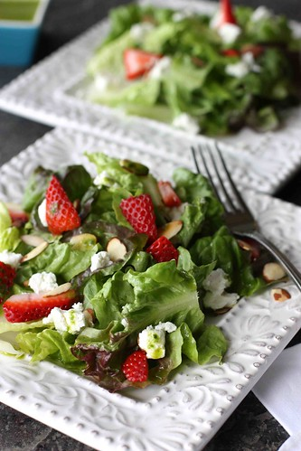 Strawberry & Goat Cheese Green Salad with Basil Vinaigrette Recipe