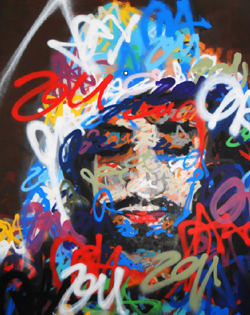 Freddy Sam, Acrylic and aerosol paint on canvas, 220cm X 150cm, 2011
