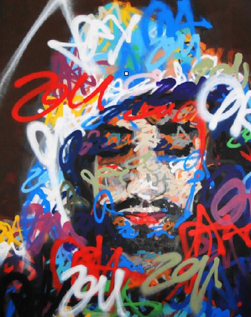 Freddy Sam, Acrylic and aerosol paint on canvas, 220cm X 150cm, 2011