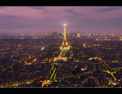 Paris skyline at night with Eiffel tower (Dutch Dennis) Tags: longexposure sunset paris france tower skyline night lights cityscape tour landmark eiffel eifel bluehour montparnasse nuit parijs dfense tourmontparnasse