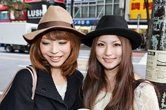 Shibuya Hat Girls (tokyofashion) Tags: street girls girl smile hat fashion japan japanese tokyo spring shibuya smiles hats style snap 2011 streetsnap