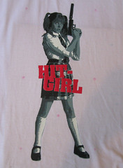 Hit Girl Stencil (Emy J.) Tags: ass girl movie hit stencil paint kick handmade tshirt chloe fabric kickass feitoamao acrilex moretz hitgirl