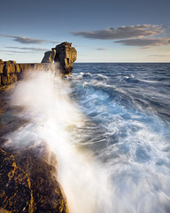 Pulpit Rock (peterspencer49) Tags: sunset sea england seascape clouds evening coast europe unitedkingdom dorset coastline seaview coastalpath westcountry ledges pulpitrock jurassiccoast dorsetcoast seascene eos1dsmarklll peterspencer coastalledges