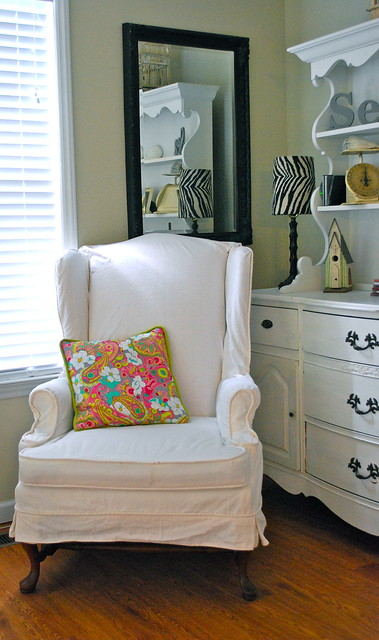 white wing chair slipcover