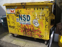 dumpster (Grimey ♕ Trains™) Tags: street lake canada art vancouver graffiti sticker open bc character paste wheat tag lush rts wg iah wizards dose minos fyk cept handstyle apk bne pasoe open5