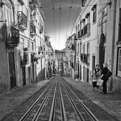 Lisbon elevator street (Close to the Edge:) Tags: portugal square blackwhite lisbon elevator tram rails tramlines 1x1