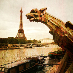 Guardian of the city (texturedJohn) Tags: paris france texture seine river eiffeltower eiffel gargoyle explore textures toureiffel gargouille textured fleuve grgola ghostbones explored tatot skeletalmess magicunicornverybest magicunicornmasterpiece