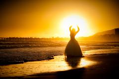 Catch the Sun (Extra Medium) Tags: ttd fields jennifer ocean sand sunset trashthedress ventura weddingdress silhouette pier sun backlit