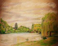 The Wind in the Willows (greatartist) Tags: park trees shadow summer sun color colour green colors beautiful beauty grass leaves gardens pine thames publicspace pencil pencils garden freshair flow reading sketch spring still cool oak scenery colours britain drawing lawn calming meadow dramatic windy overcast sunny calm delicious shade rivers promenade expressive colored serene ripples breeze coloredpencils weepingwillow berkshire coloured colourpencil tranquil greysky soothing caversham coloredpencil muted colorpencil swirling silverbirch parkland windinthewillows colouredpencils colourpencils colouredpencil fruitful berskhire contempletive colouredpencil enervating