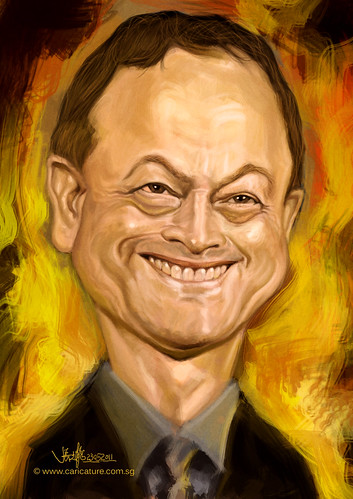 digital caricature of Gary Sinise