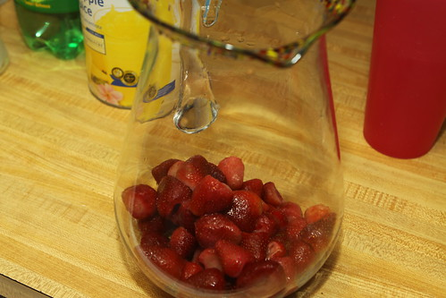 strawberries in the pitcher