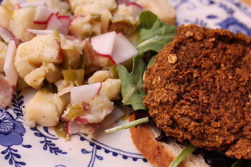 Potato Salad and Black Bean Burgers
