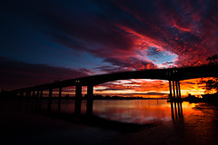 Treasure Every Moment (Eloise Claire) Tags: life new bridge sun color colour reflection beautiful beauty silhouette clouds sunrise landscape treasure purple m1 australia brisbane qld queensland gateway m2 slowshutterspeed longexposuretime longshutterspeed canonefs1022mm brisbanegatewaymotorway