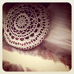 crochet covered cushion on my bed