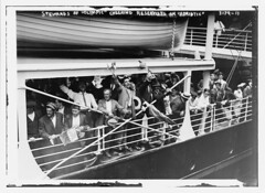 Stewards of OLYMPIC cheering reservists on ADRIATIC  (LOC) (The Library of Congress) Tags: libraryofcongress dc:identifier=httphdllocgovlocpnpggbain16810 xmlns:dc=httppurlorgdcelements11 ship oceanliner steamer whitestarline whitestar rmsolympic olympic olympicclass harlandandwolff harlandwolff hw shipsrail lifeboat