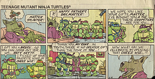 Teenage Mutant Ninja Turtles { newspaper strip } ..CHEEZ WIZ- ..art by Lawson :: 06161991