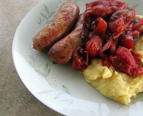 Roasted Sausages w/ Polenta