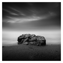 Immovable (picturedevon.co.uk) Tags: stmarysbay brixham torbay berryhead englishriviera devon westcountry england unitedkingdom blackandwhite fineartphotography seascape minimalist mist fog beach tide waves clouds sky longexposure coast seaside