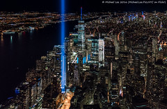 Tribute in Light - 9/11/16 (DSC09451-Edit) (Michael.Lee.Pics.NYC) Tags: newyork aerial flynyon tributeinlight 2016 night helicopter onewtc worldtradecenter cityscape architecture sony a7rm2 fe2470mmgm