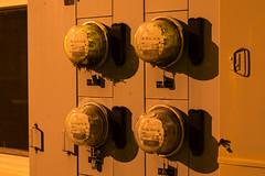 Electric Meters (Curtis Gregory Perry) Tags: cathlamet washington electric meter electricity main street hotel night longexposure light dark shadow 73 67 71 65 nikon d800e