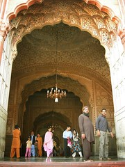 Misbah-Shoaib alongwith others at right side entrance of Masjid (Qaseem Ahmad) Tags: pakistan classic tourism stairs march nice nikon shot coolpix punjab period lahore masjid shahi mughal mehrab