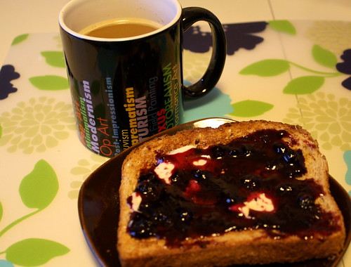 coffee, toast with preserves
