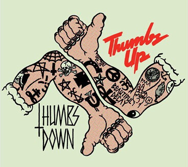 thumbs up/thumbs down graphic with tattooed arms