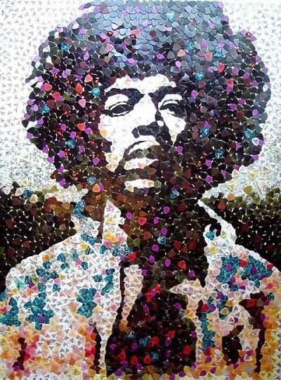 Hendrix Guitar Pick Mosaic by Ed Chapman