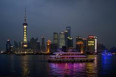 Shanghai Nights (cybersooz) Tags: china sunset skyline twilight skyscrapers shanghai yachts pudong orientalpearltower 2011 pearloftheorient pudongnewarea huanguriver