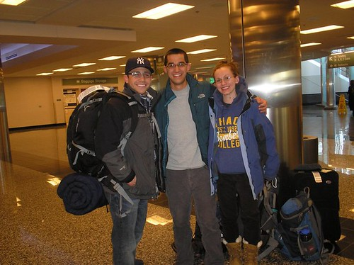 Mike Grillo '11, Brian Erickson, M.B.A. '11, and Meghan Miller, M.B.A. '12, ready to depart to assignments in Alaska.