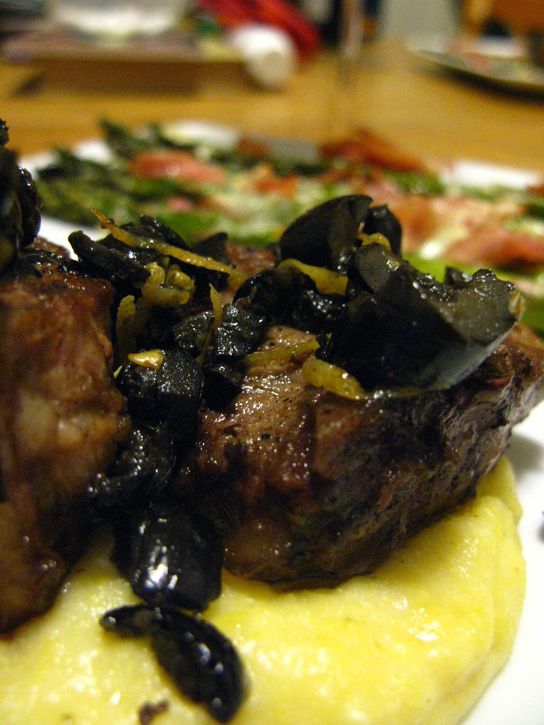 Day 4: 3/30/11 -- Lamb Loin Chops with Olives over Soft Polenta served with Roasted Asparagus and Prosciutto