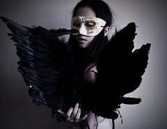 birdII. (Deadlylittlemiri) Tags: portrait woman selfportrait black girl dark wings darkness mask wing feathers feather venetian masque deadlylittlemiri mirihoglund