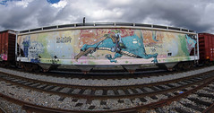 KATCH (TRUE 2 DEATH) Tags: railroad sky autostitch panorama streetart art clouds train graffiti character pano tag graf traintracks trains panoramic nasa railcar spraypaint boxcar railways hopper stitched railfan freight freighttrain autostitched rollingstock wholecar autopano  stitchedpanorama e2e autopanopro benching katch freighttraingraffiti naturalkoncept