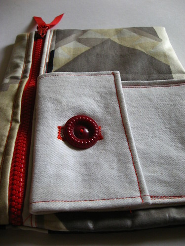 white denim front pocket with lovely button closure