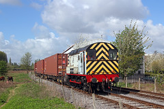 08445 on the Barton dock road branch, Trafford park 12/04/11 (John Eyres) Tags: road park john manchester canal dock ship container barton trafford msc eyres fotopic 08445