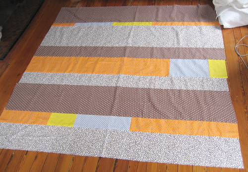 Polka dot flannel quilt top