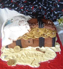 ahoy there (The Whole Cake and Caboodle ( lisa )) Tags: newzealand party beach cakes cake sarah gold sand key treasure coins chest banana pirate hewitt whangarei fondant buttercream caboodle thewholecakeandcaboodle