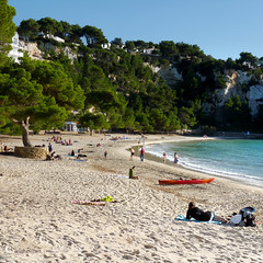A relaxing afternoon on Galdana beach (Bn) Tags: park santa wood blue trees sea summer beach pine marina walking geotagged island islands bay spain topf50 rocks walks paradise mediterranean kayak day natural crystal hiking cove seagull paradiselost diving lagoon cliffs semi resort clear oxygen biospherereserve kayaking limestone backdrop coastline gorge hillside nudity idyllic shady surroundings circular menorca cala nesting secluded minorca clifftop balearic macarella galdana macarelleta balear 50faves rurallocation naturistbeaches calasantagaldana geomenorca geo:lon=3960939 geo:lat=39935787