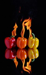 Hot Peppers (Karen_Chappell) Tags: red stilllife food orange black hot reflection yellow pepper fire vegetable flame
